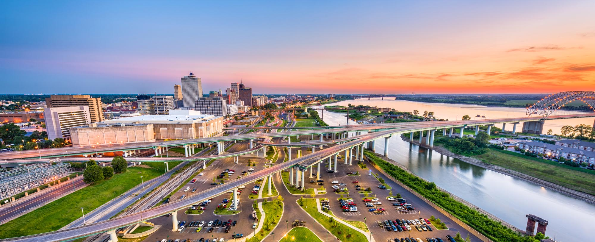 An aerial view of downtown Memphis Tennessee
