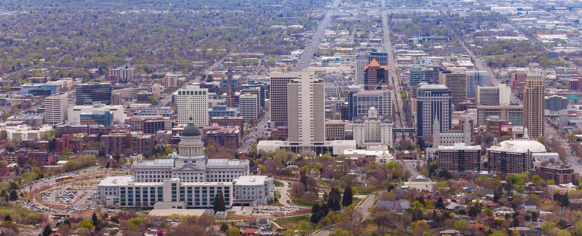 An aerial view of the capitol building and downtown Salt Lake City, Utah
