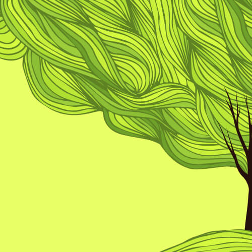Illustration of a dark brown tree on a light green field with green striations for leafs